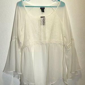 Torrid white chiffon with lace inset size 0